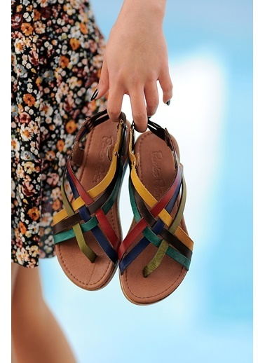 Pembe Potin A205-20 Kadın Sandalet A205-20 Renkli